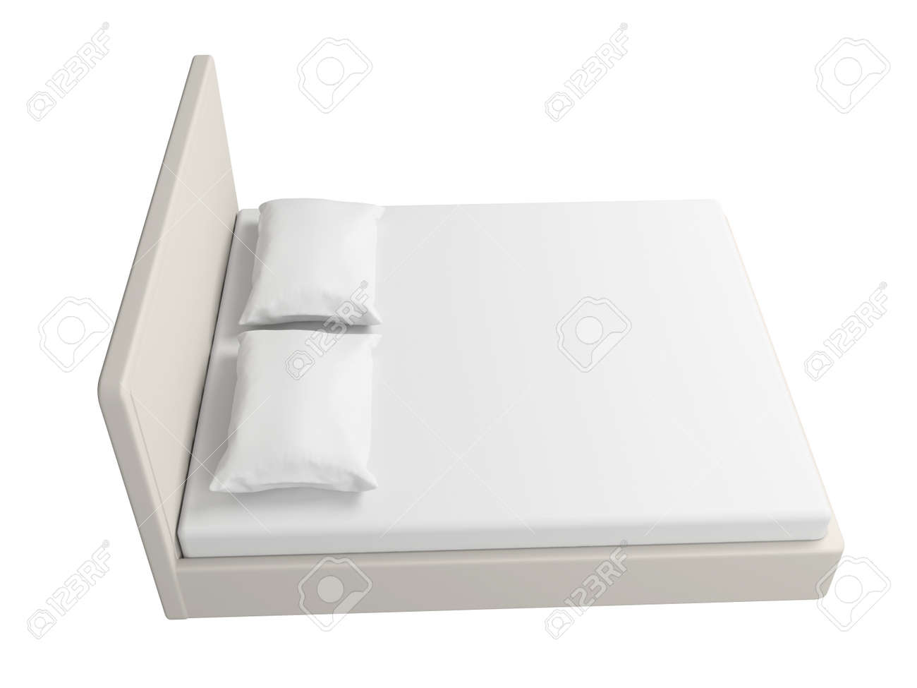 Double bed with a sheet and pillows. Isolated on a white background. Stock Photo - 18593006