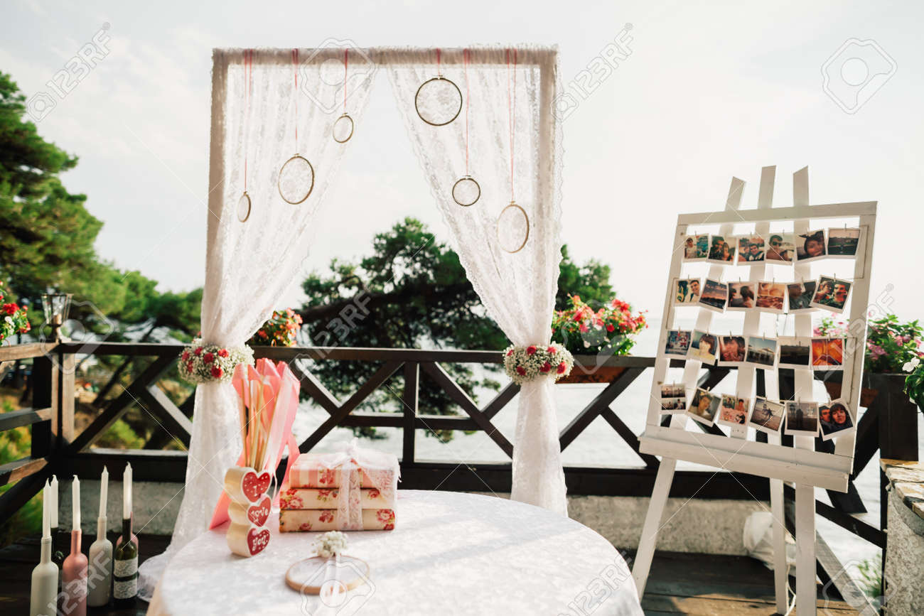 Wedding ceremony table decoration rustic style with wedding stock stock photo wedding ceremony table decoration rustic style with wedding arch background junglespirit Image collections