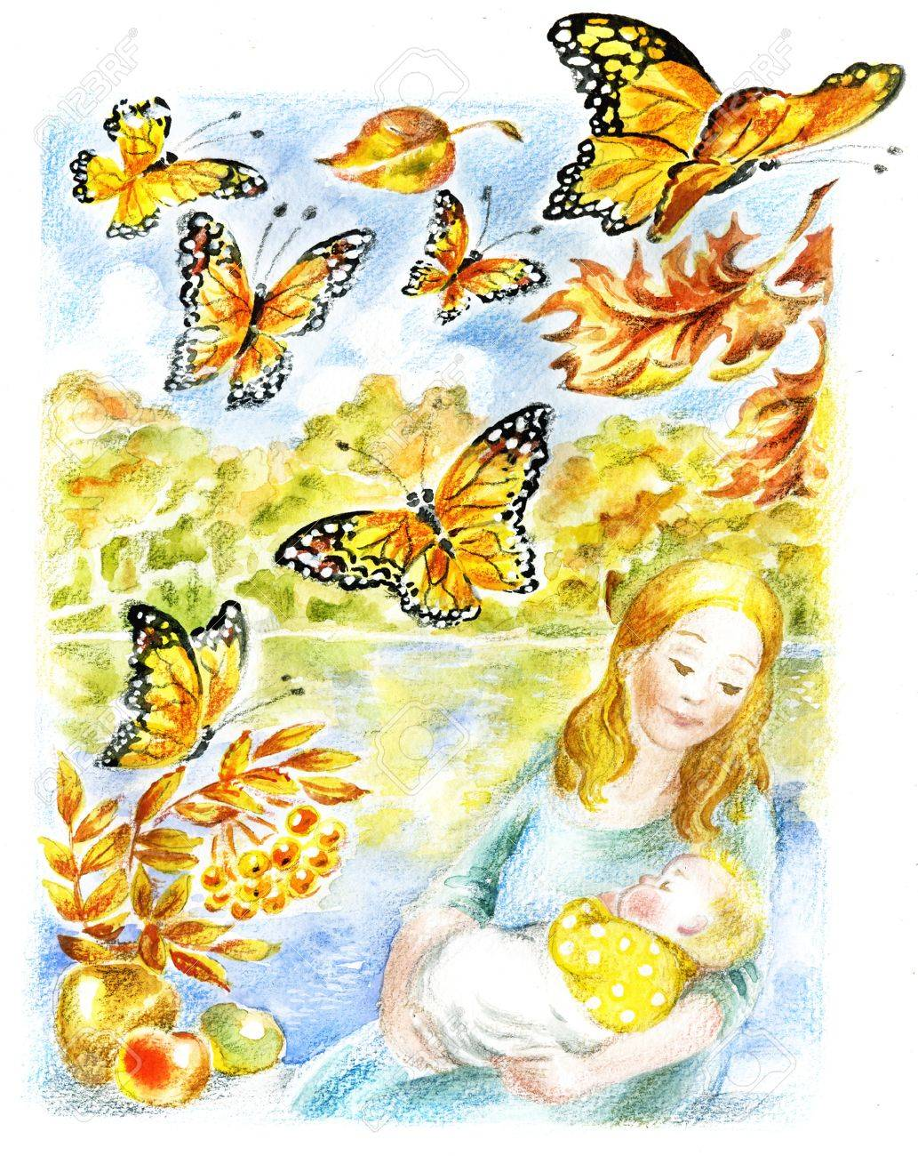 Mother and baby. Mother holds a baby in her arms against autumnal picturesque scenery with flying butterflies and yellow-red leaves Stock Photo - 18178623