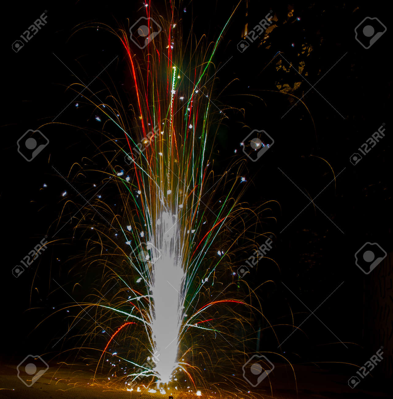 Colurful Tubri Anar Firework During Diwali Festival Durga Kali ...