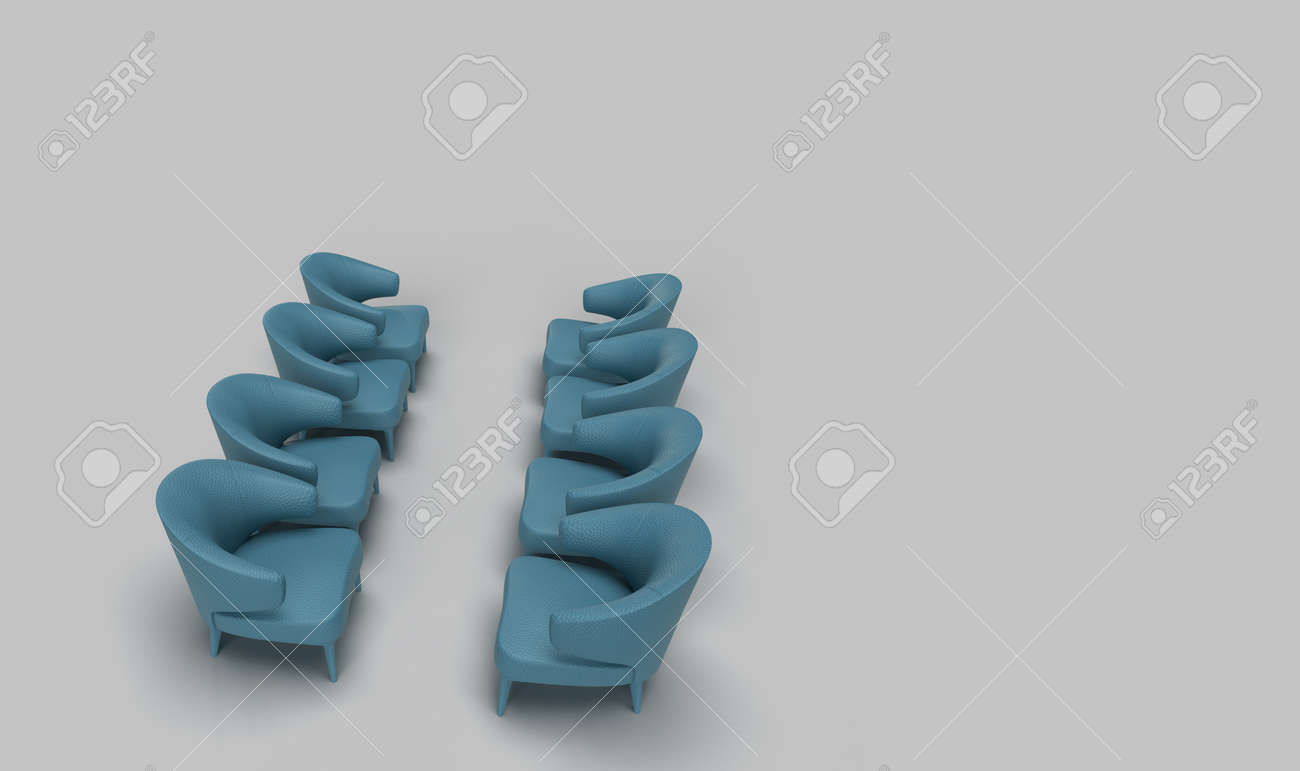 photo 3d render of four set of cyan single armchair sofa arranged facing each other in solid grey backgrou
