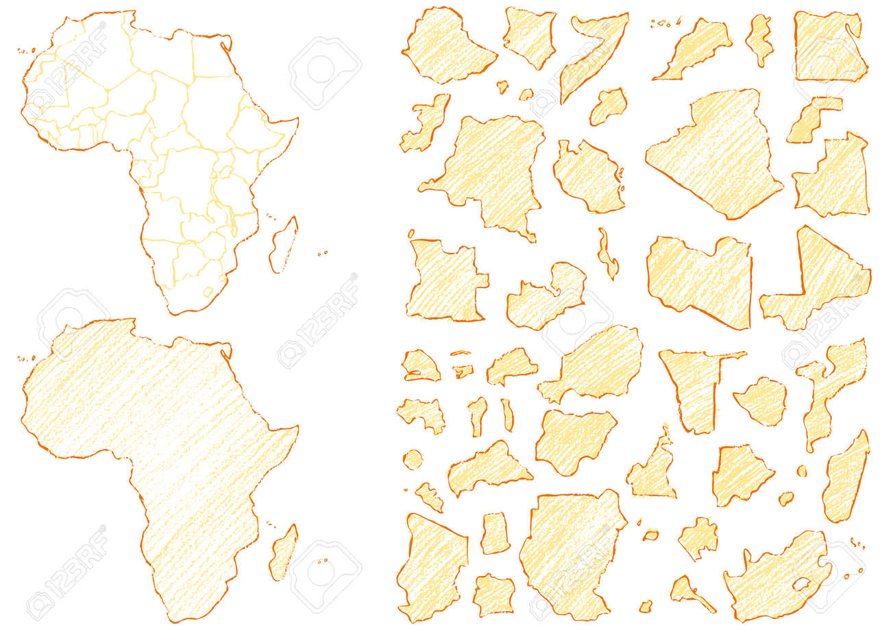 Map Of Africa Written With Crayons Royalty Free Cliparts, Vectors
