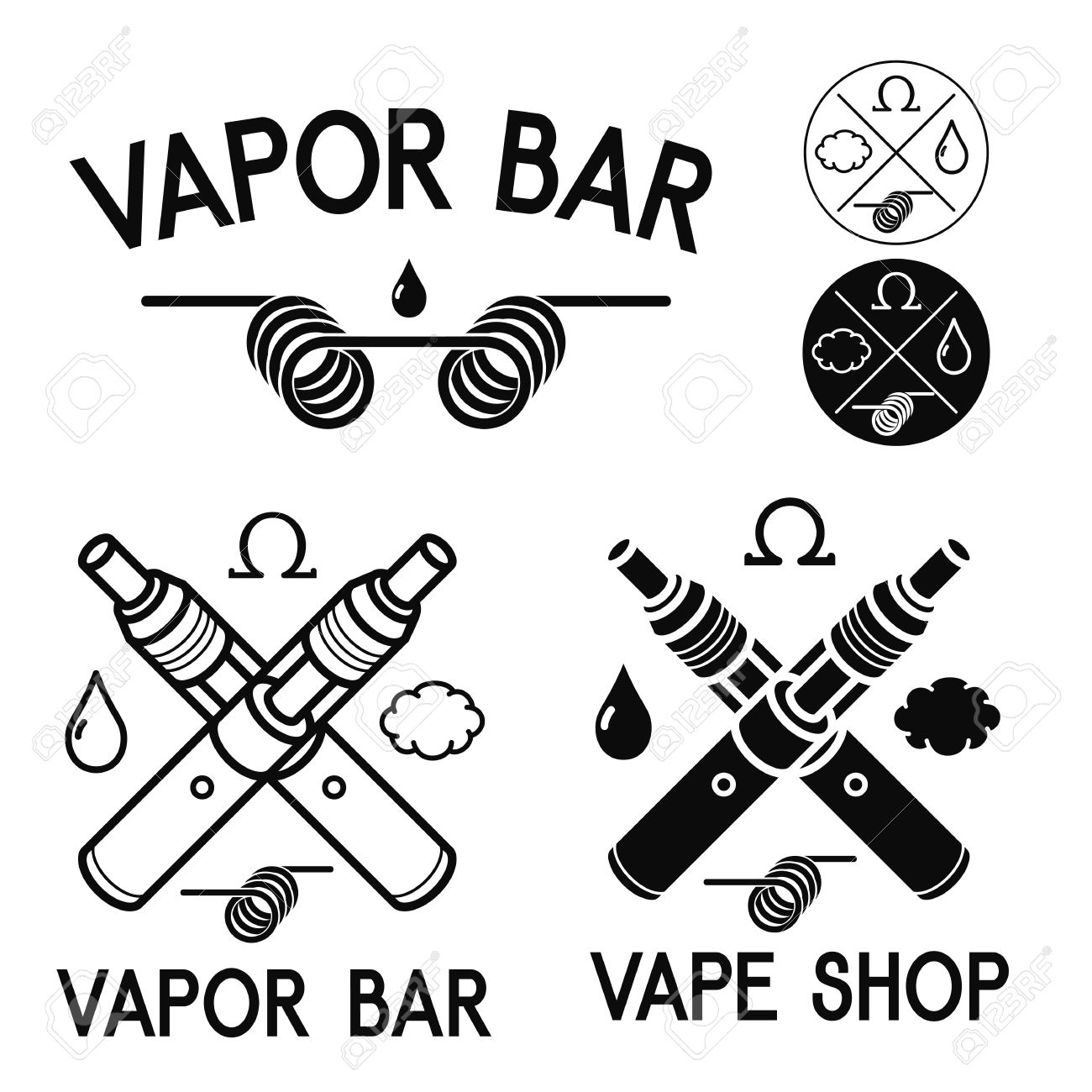 vape shop and bar isolated logos on white background royalty free