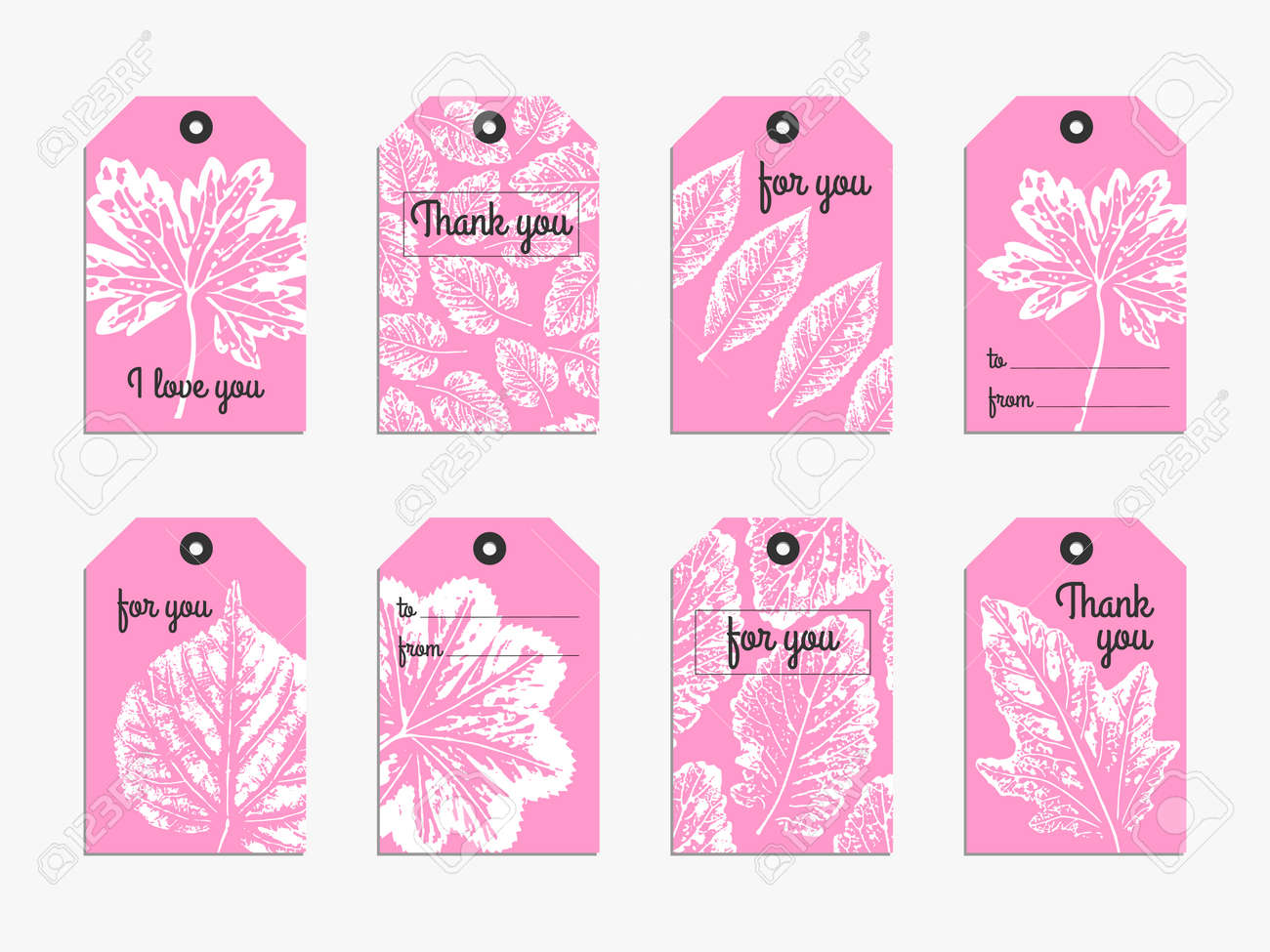 collection of 8 cute typography tag template with handcrafted