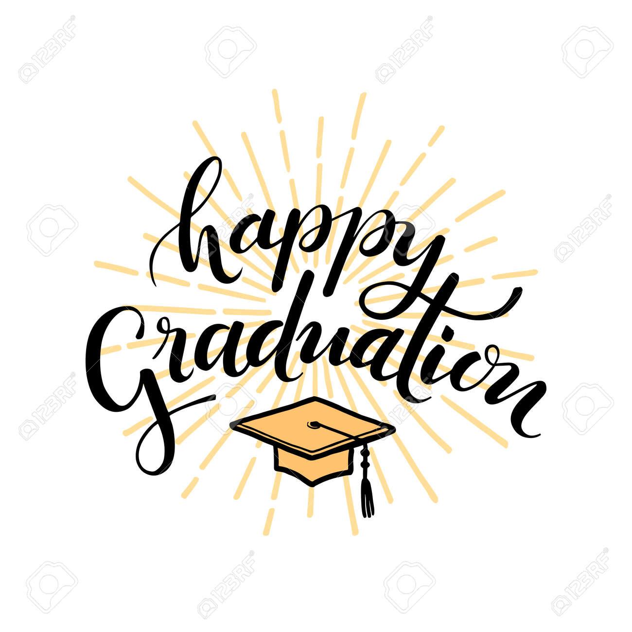 Feliz Graduacion Dibujado A Mano Letras Para Saludar Tarjeta De Invitación