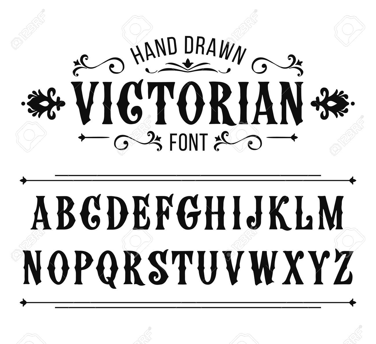 Hand Drawn Letters Vector Alphabet In Victorian Style Stock