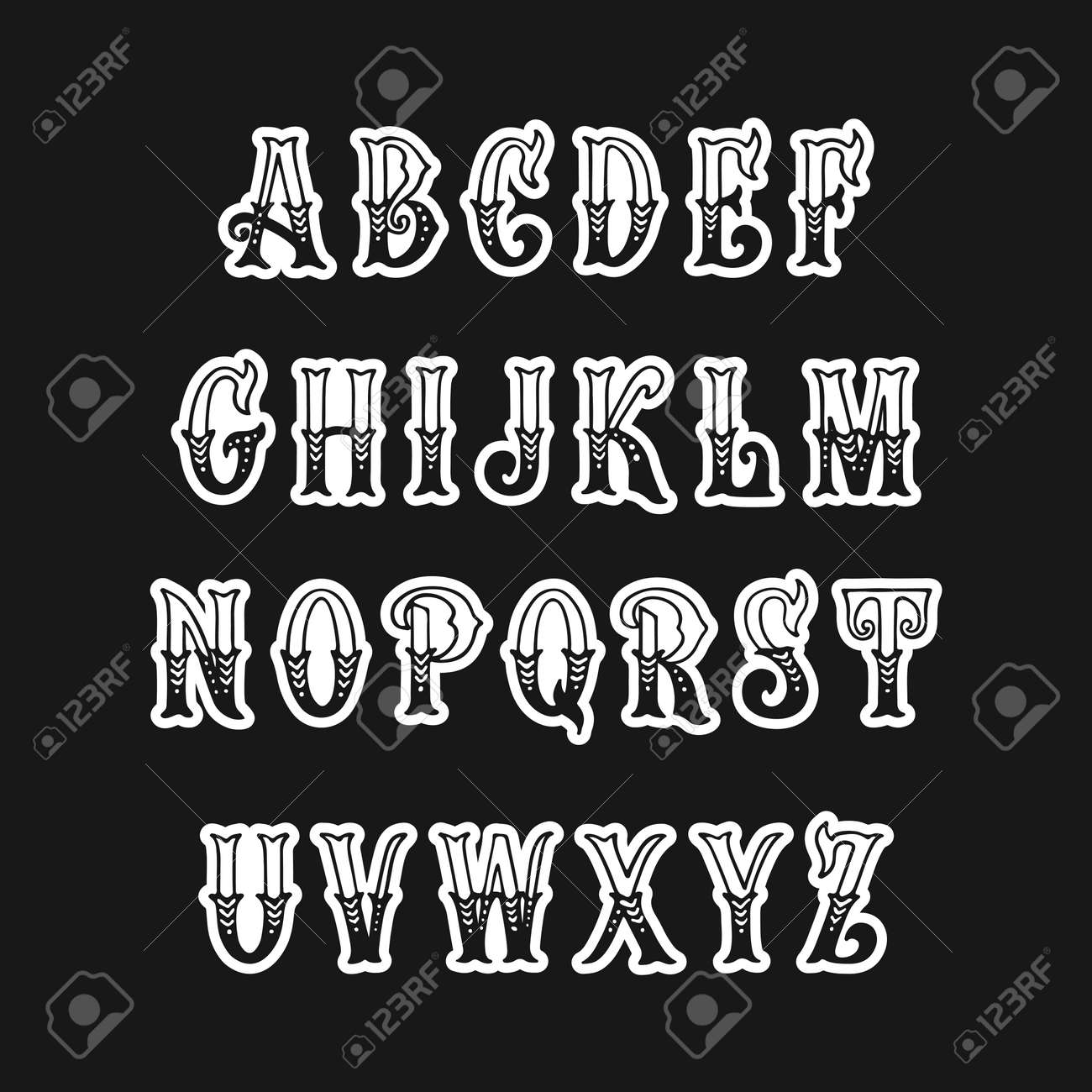 Set of Victorian style alphabet letters  Vector font type design