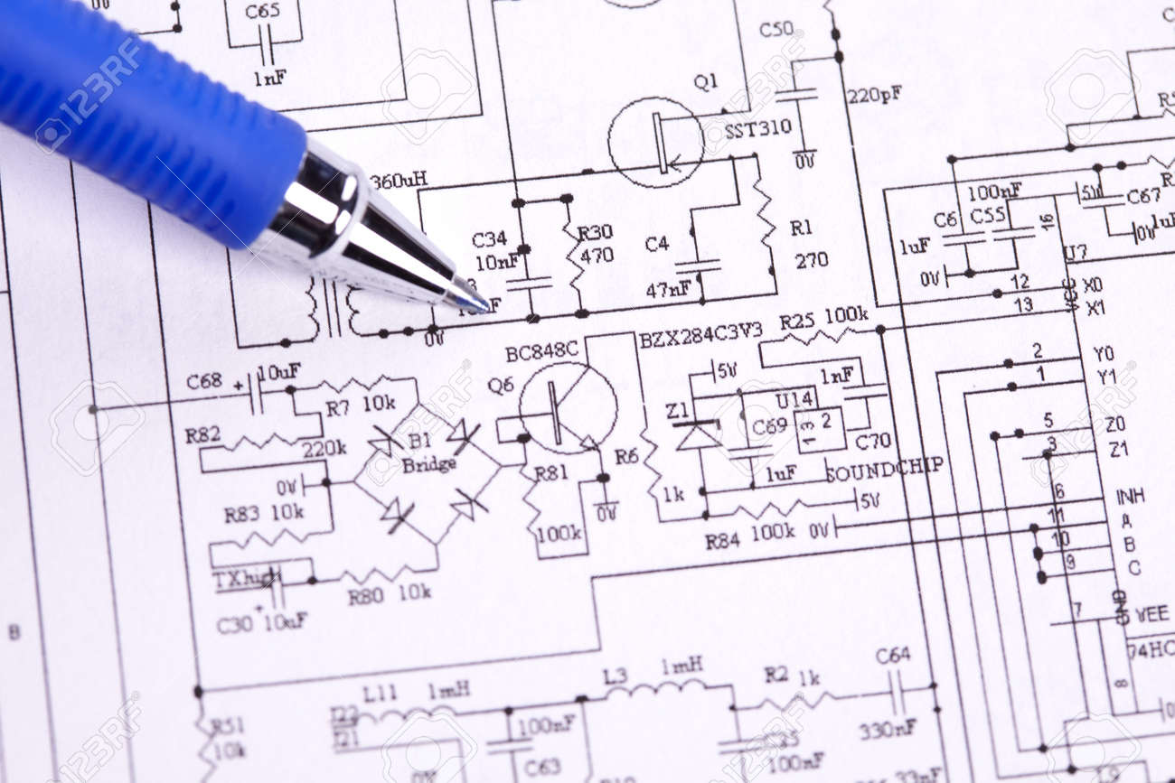An Electronic Schematic Diagram. Ideal Technology Background. Stock ...