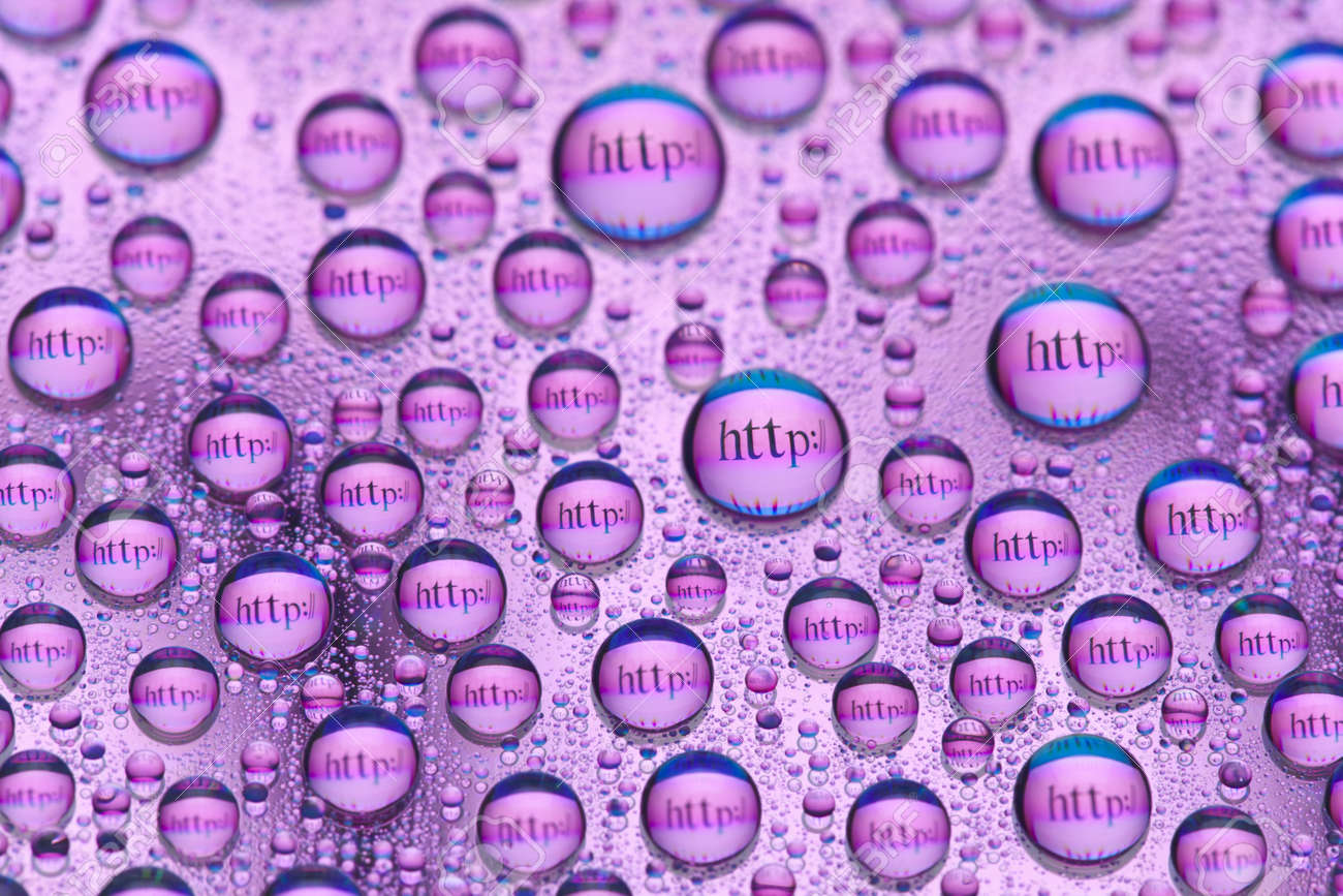 Water drops and Internet symbols Stock Photo - 9131087