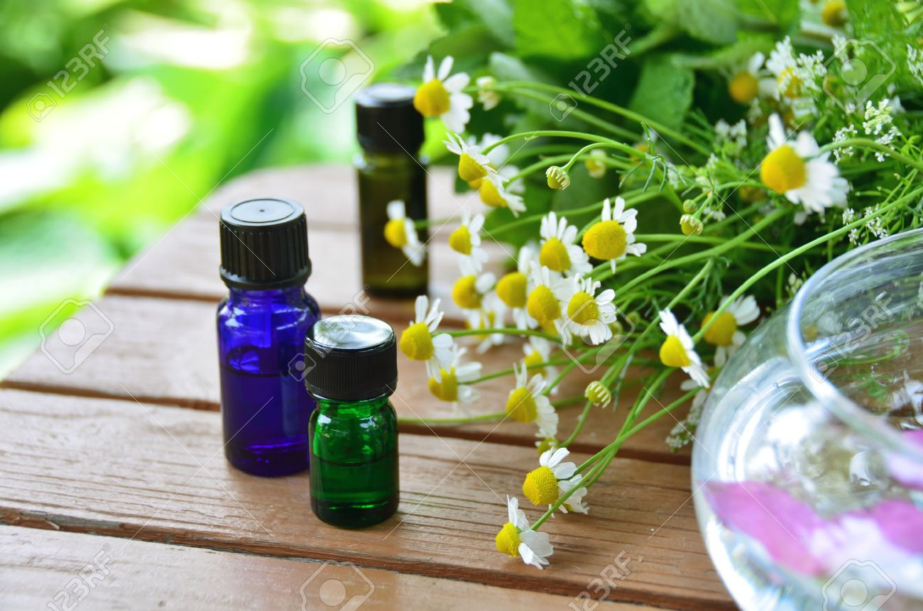 essential oils with herbal flowers - 27767777