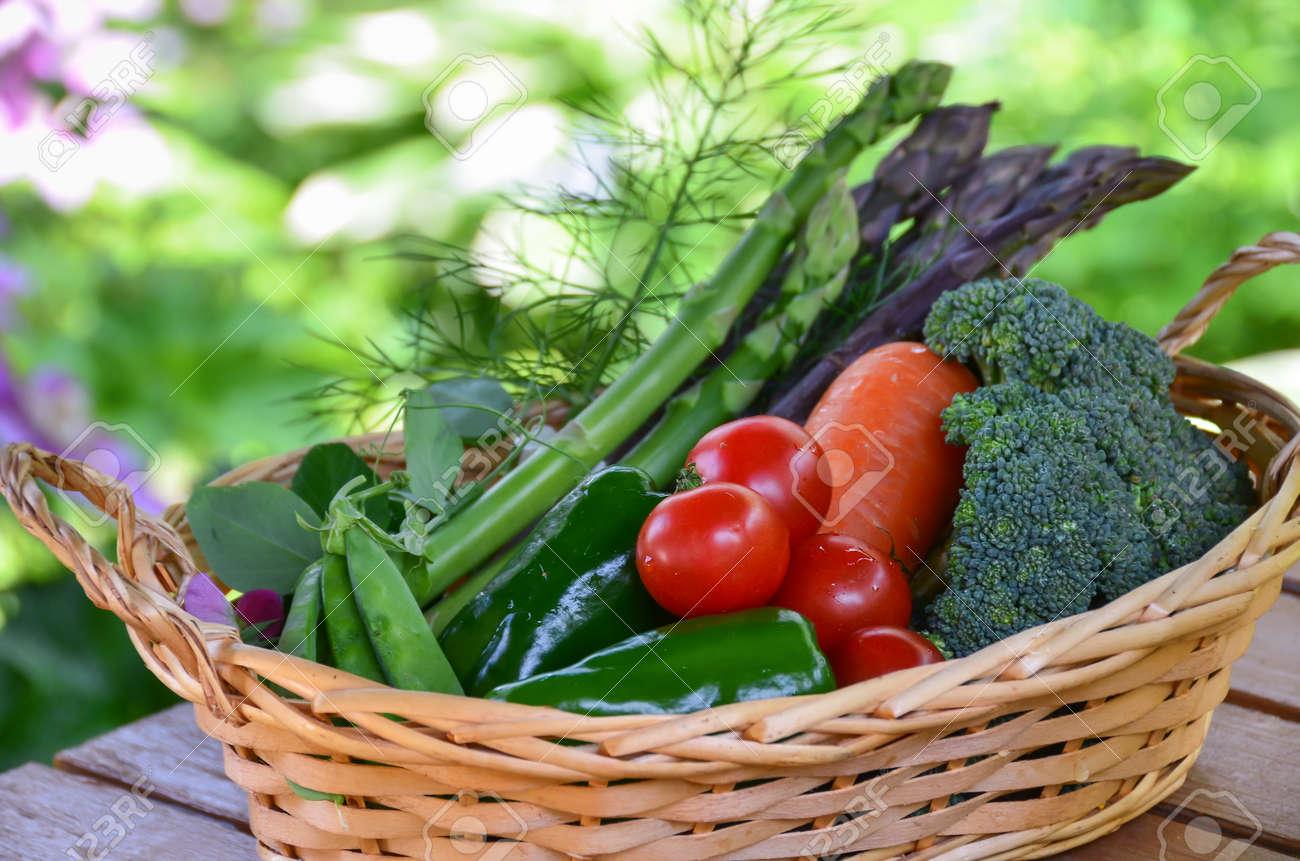 vegetables harvested in basket - 39691797