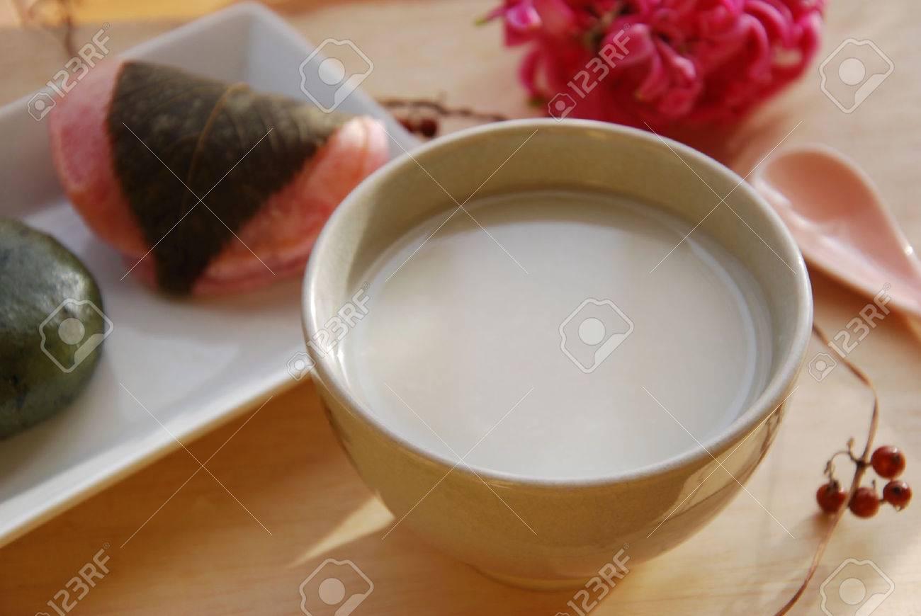 sweet Japanese rice sake called amazake - 48430198