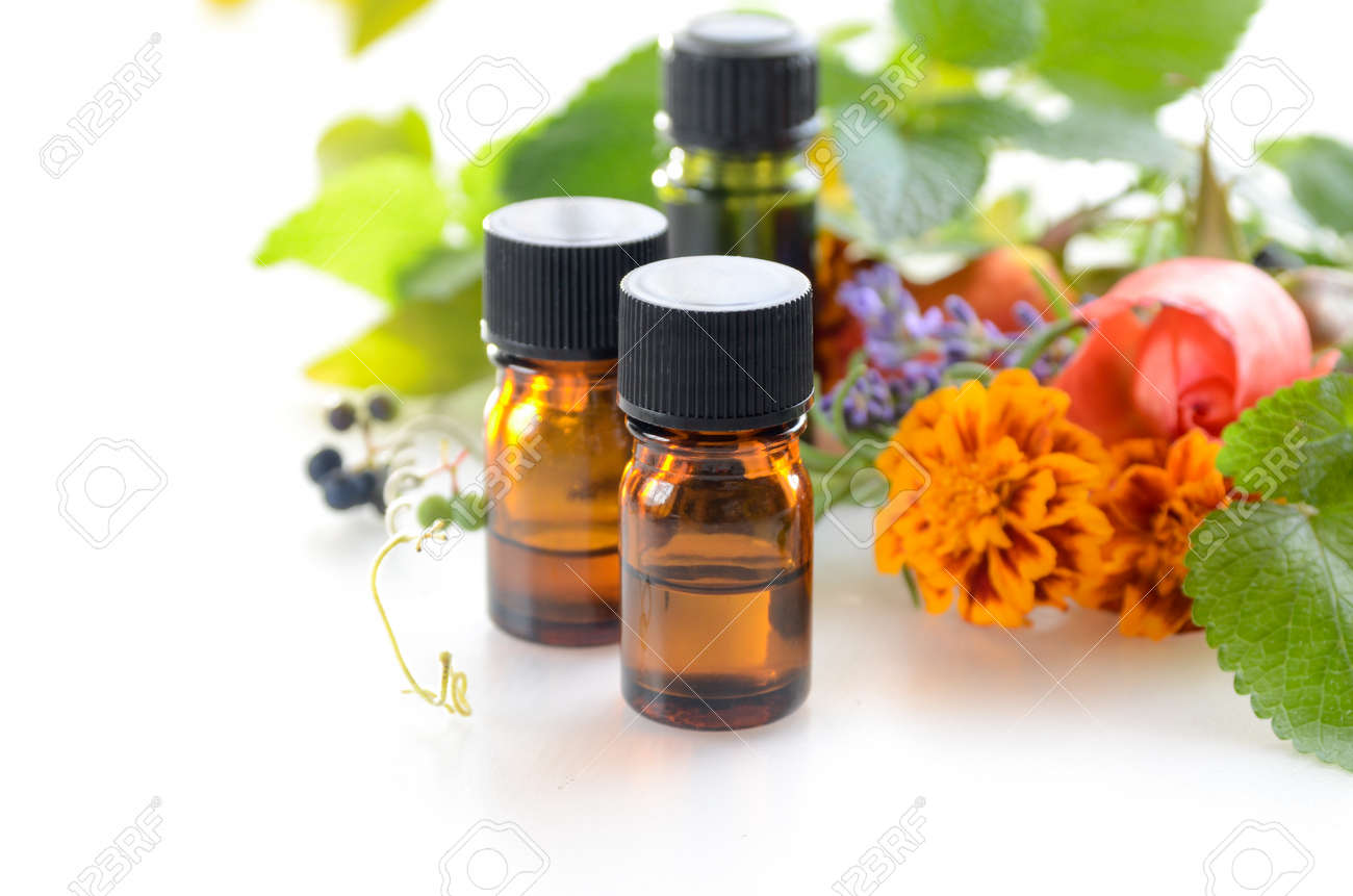 essential oils with herbal flowers and leaves - 49029813