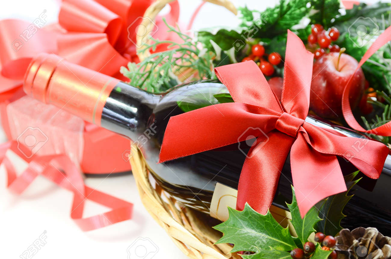 wine bottle in a basket for Christmas party - 50286643