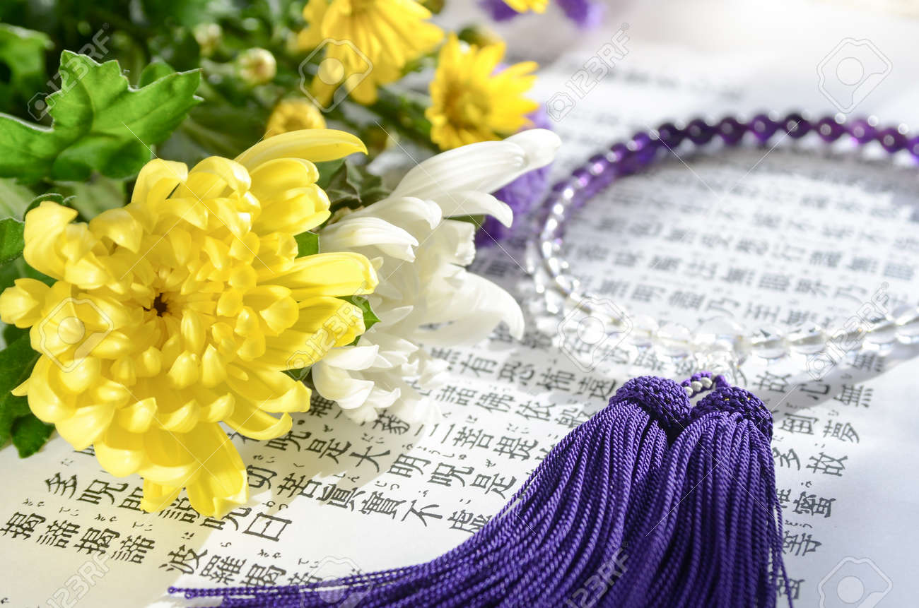 Flowers and rosary for buddhism pray on heart sutra stock photo flowers and rosary for buddhism pray on heart sutra stock photo 51739761 izmirmasajfo