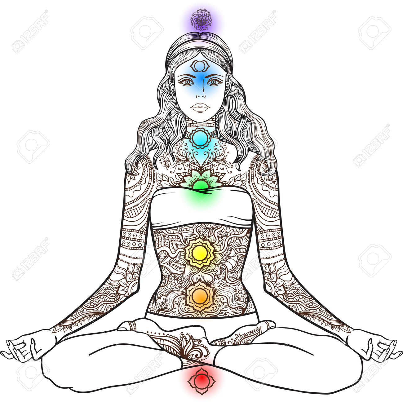 99e7bf2ca3425 Vector - Woman sitting in yoga lotus pose with Tattoo mehndi ornamental  pattern. Meditation, aura and chakras. Vector illustration.