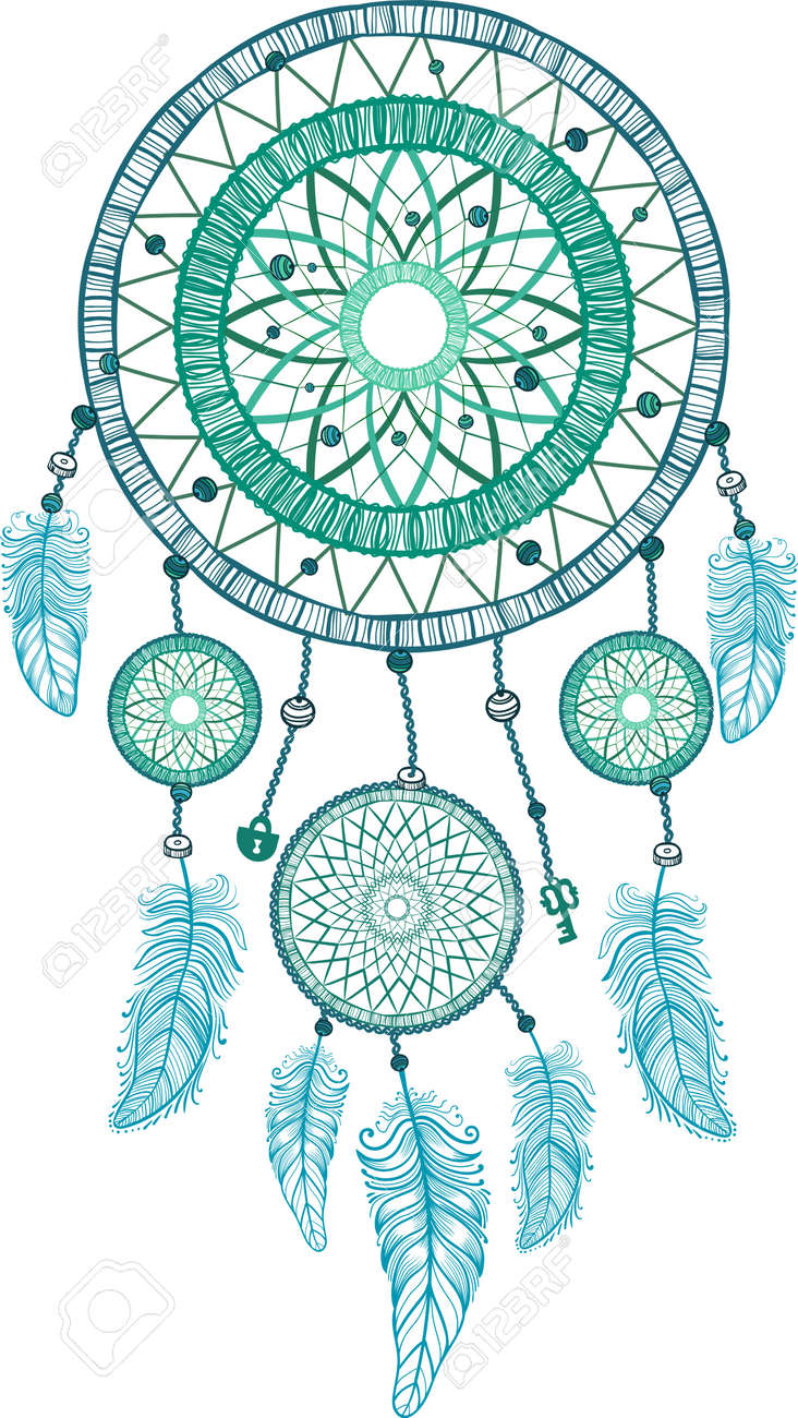 dream catcher with feathers hand drawing vector royalty free