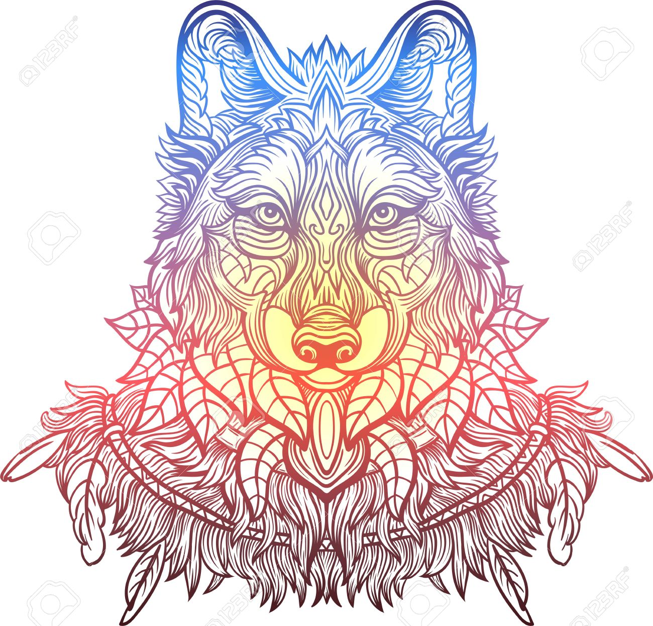 Hand Drawn Wolf Side View With Ethnic Floral Doodle Pattern Coloring Page