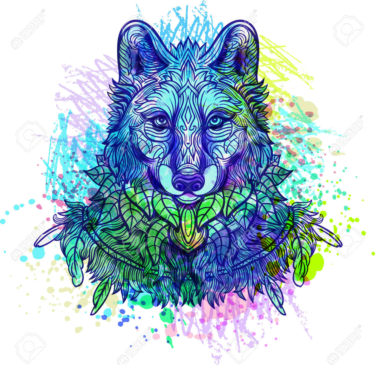 Wolf. Hand-drawn wolf side view with ethnic floral doodle pattern. Coloring page - zendala, design for tattoo, t-shirt print - 57549118