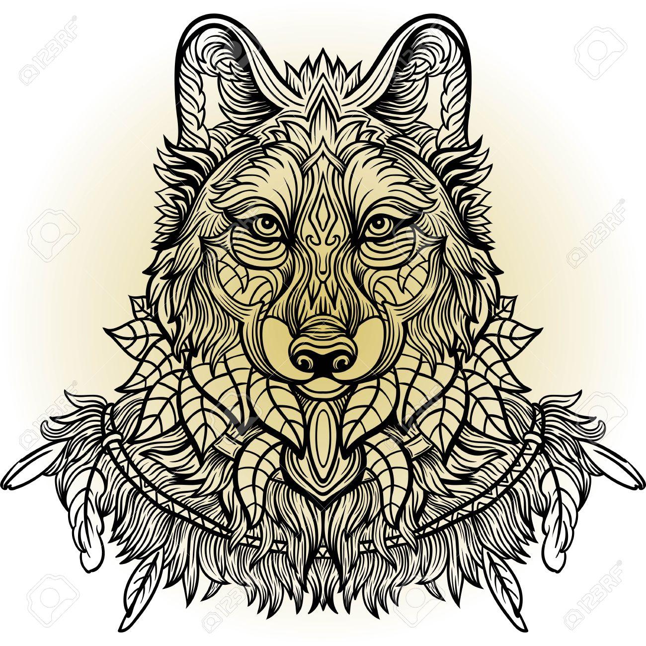 Lobo Vista Lateral Lobo Dibujado A Mano Con El Patrón Doodle Floral