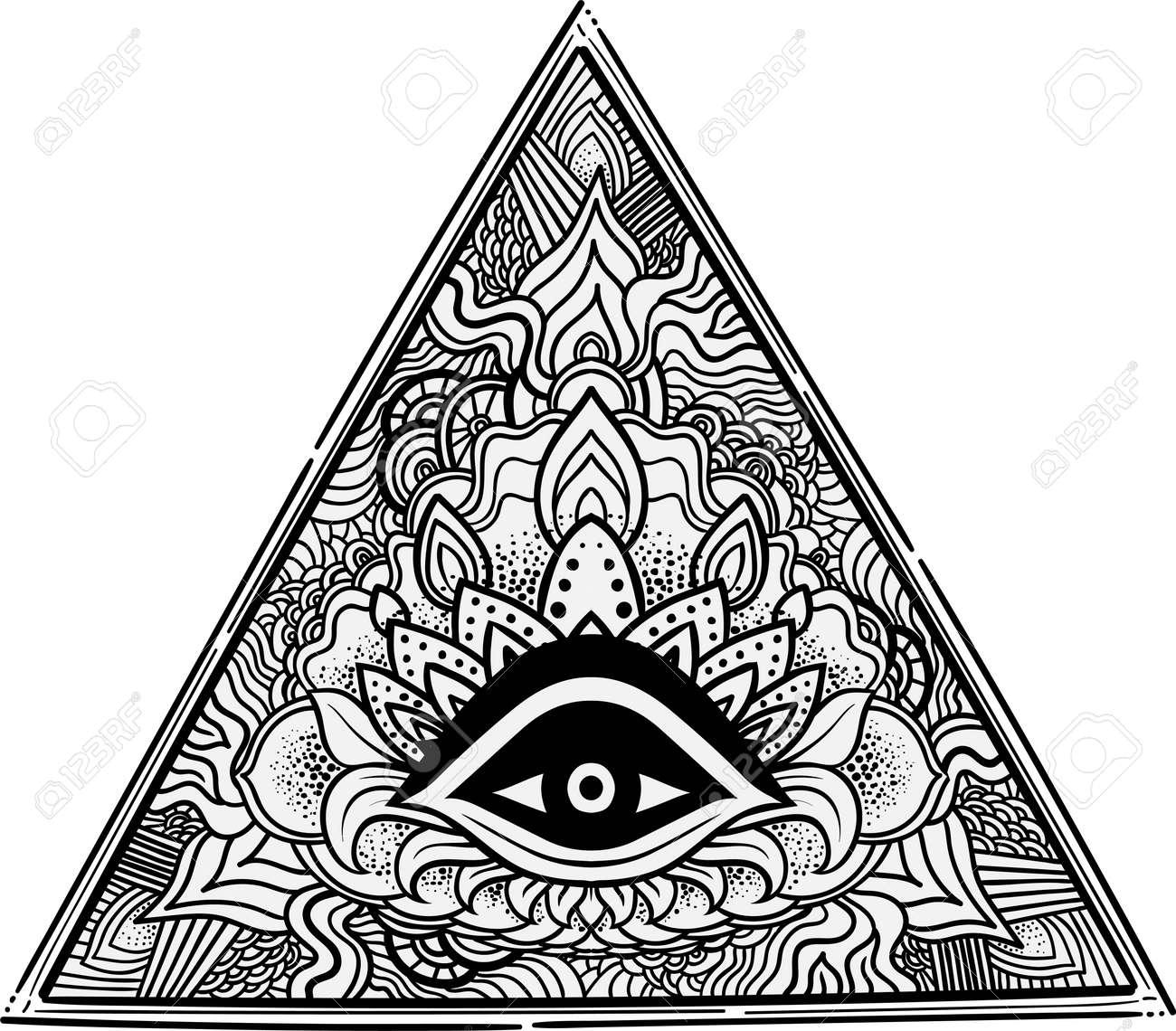 6a54db2df27f1 Eye of Providence. Masonic symbol. All seeing eye inside triangle pyramid.  Hand-