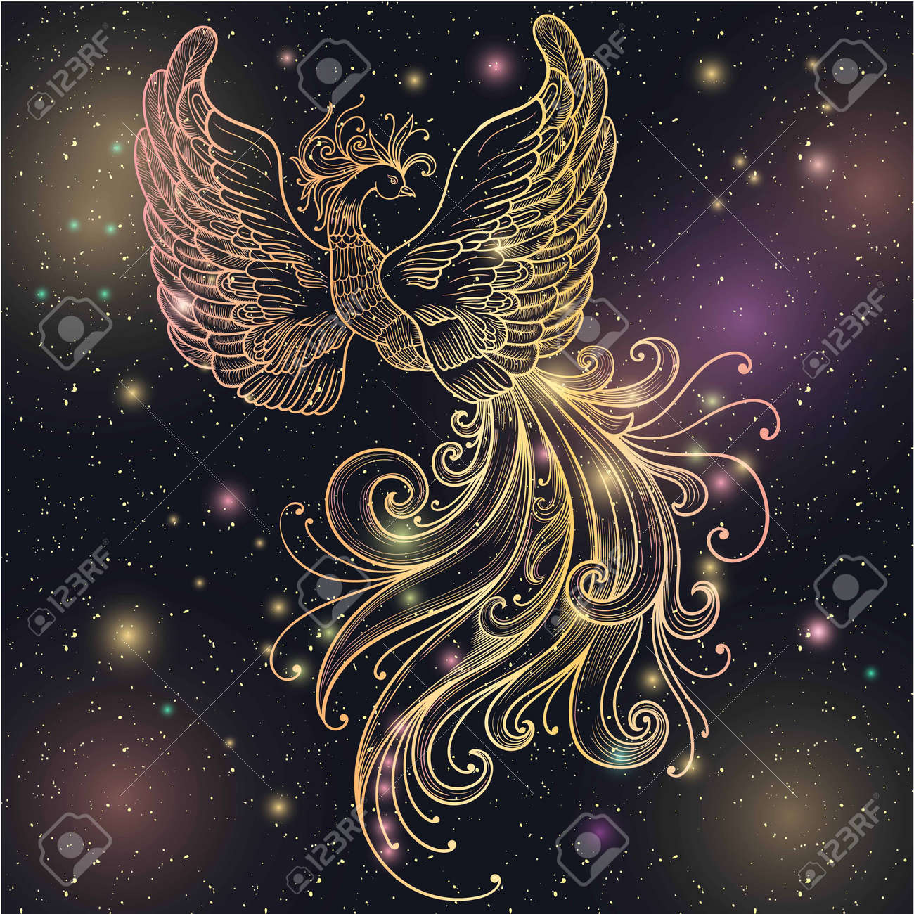 Magic space Firebird with stars vector clipart Gold glow and glitter. Ornate Filigree. Boho zentangle line art doodle. Suitable for tattoos, body art, coloring for adults and vintage design. - 58752600