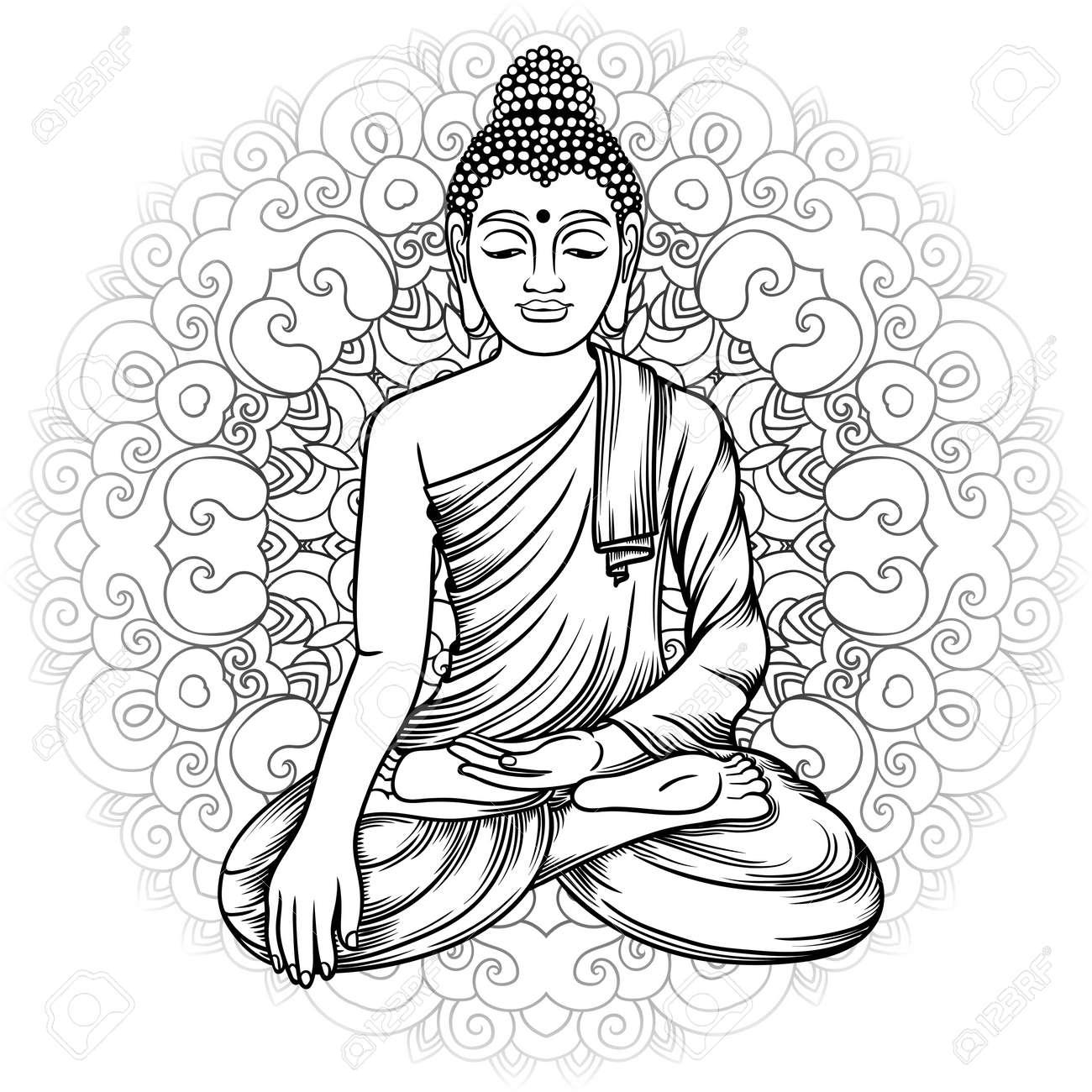 Gautama Buda Con Ilustración Vectorial Mandala. Dibujo A Mano ...
