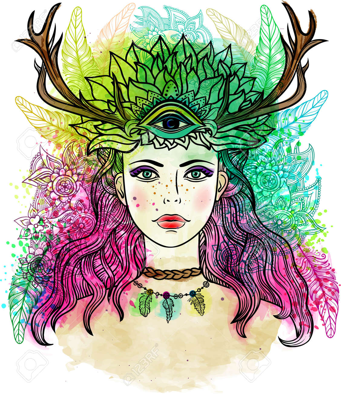 Female shaman with third eye, Feathers, horns . Alchemy, religion, spirituality, occultism, tattoo line zentangle hipster art, coloring books. Watercolor, chalk pastels pencils texture vector - 58753850