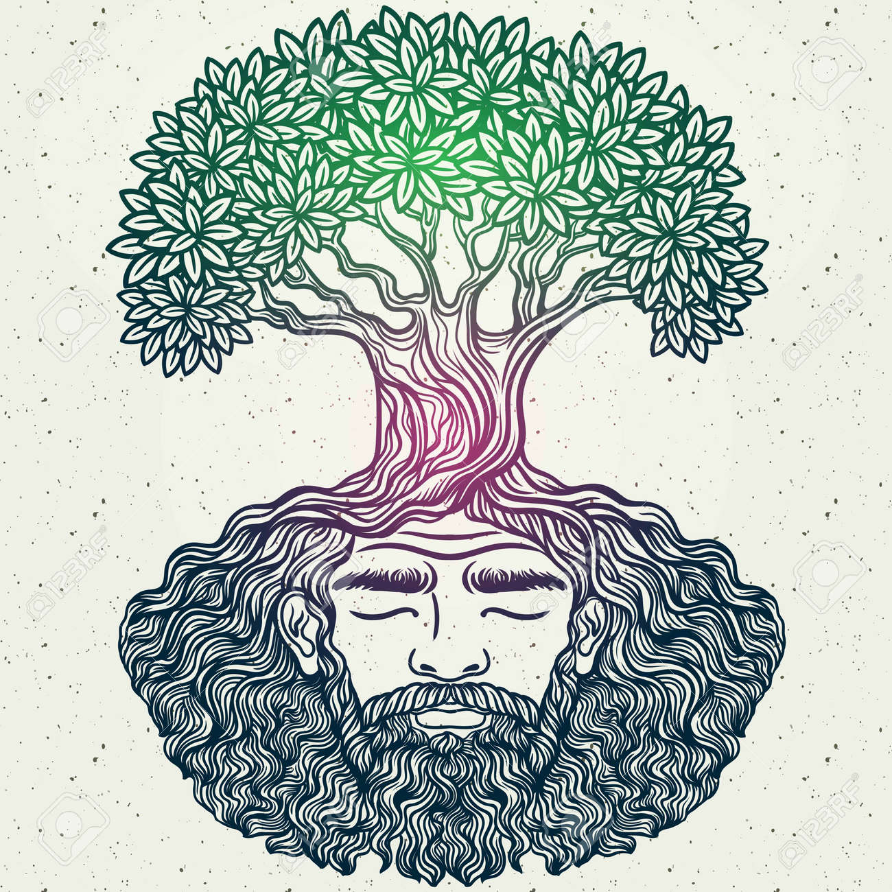Bearded man. Allegorical tree spirit.Beard of the roots.For hipster tattoo, coloring for adults,eco design,t-shirt print, protect the environment. Pattern, zentangle,line art. Magic, Boho chik, hippie - 58752759