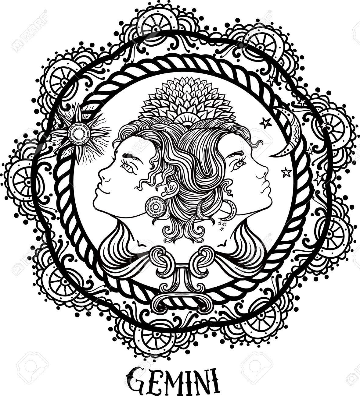 Hand drawn romantic beautiful line art of zodiac gemini. Vector illustration isolated. Ethnic design, mystic horoscope symbol for your use. Ideal for tattoo art, coloring books. - 63417069