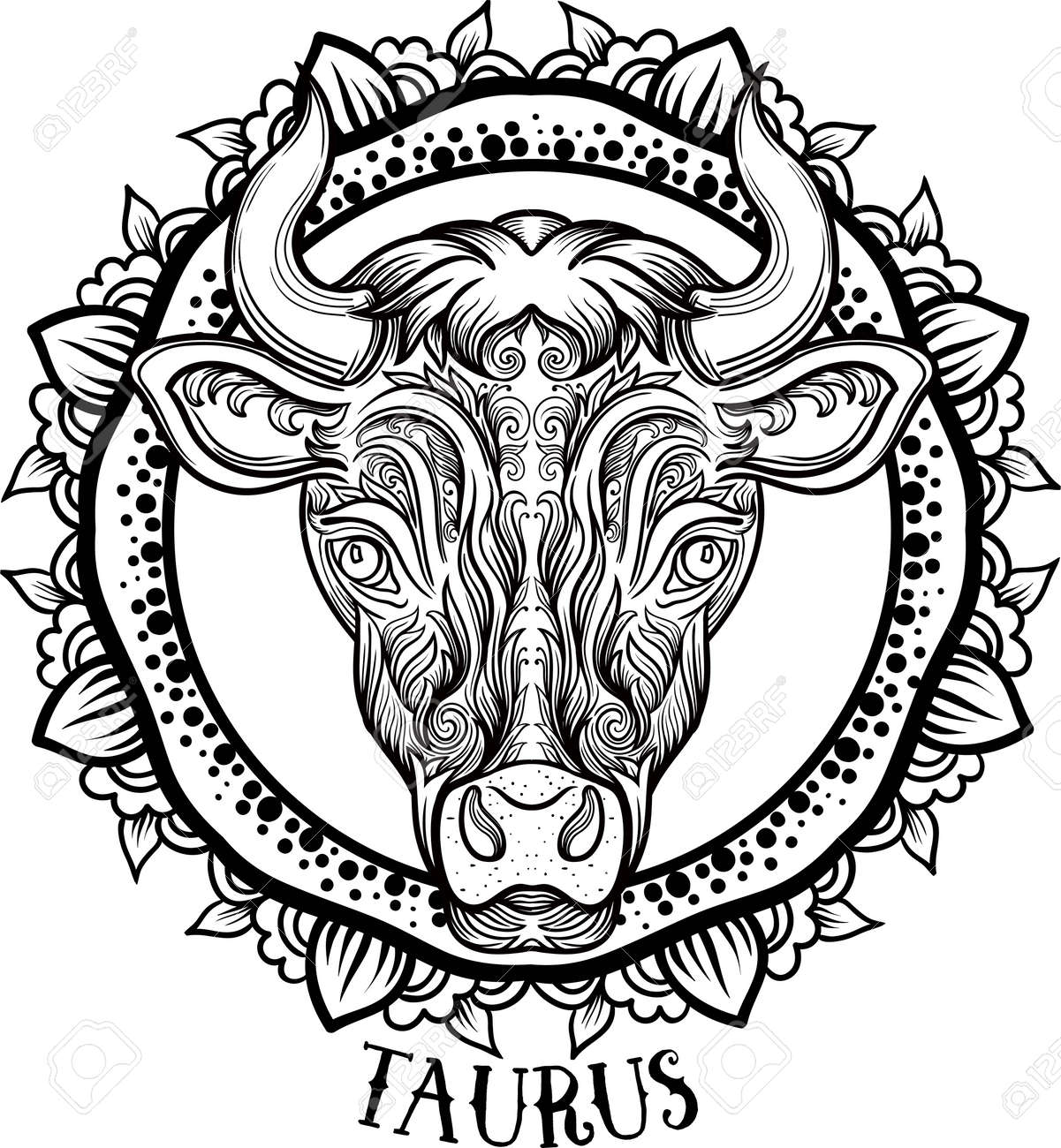 Zodiac Taurus. tribal, decorative wool pattern. Vector - 63417070