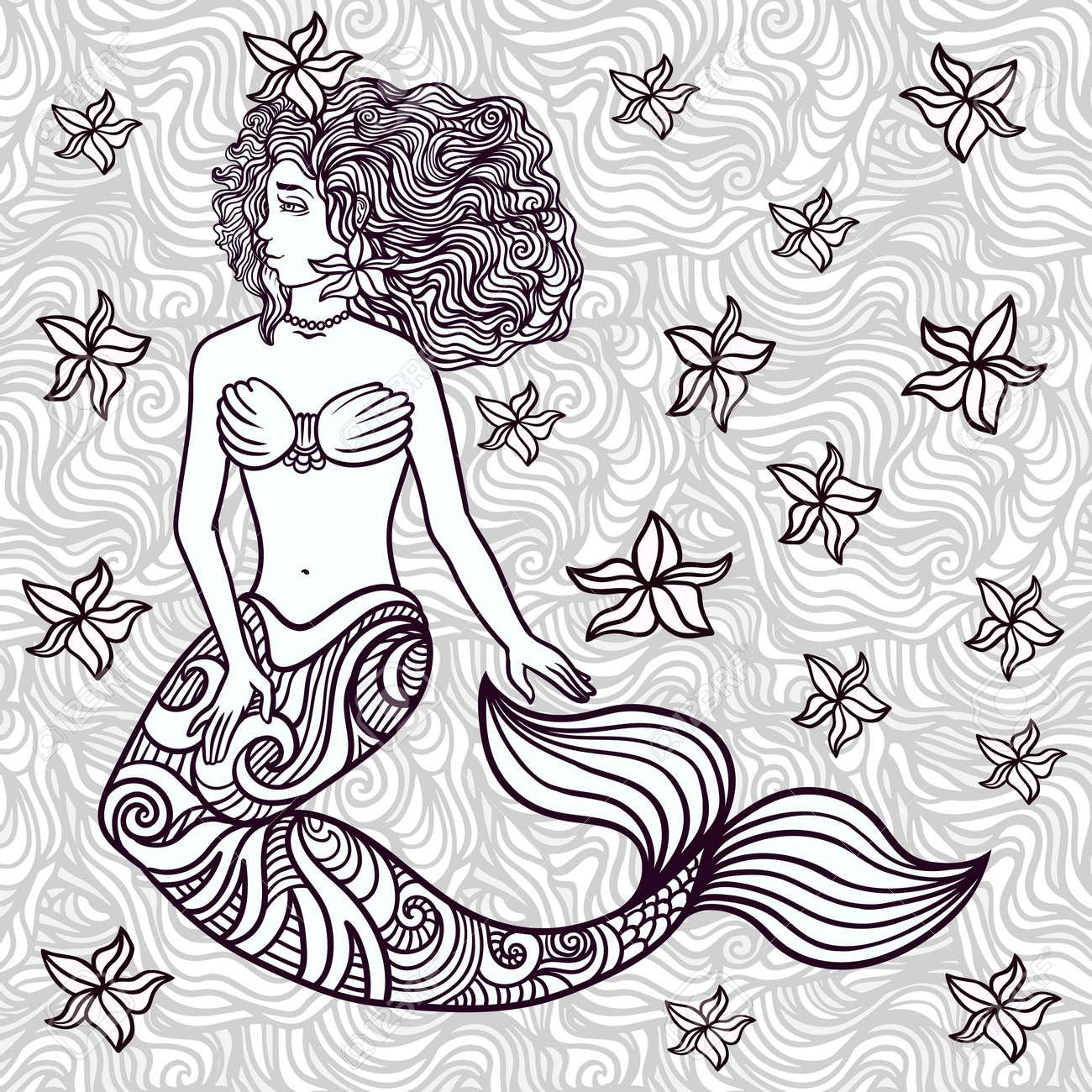 Hand drawn beautiful artwork mermaid with curly hair, algae, barnacles. - 63444088