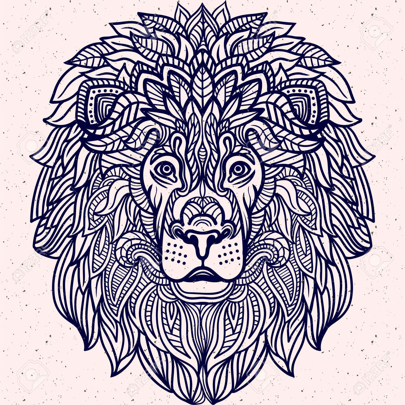 Detailed Lion In Aztec Filigree Line Art Style Tattoo Coloring Page For Adult