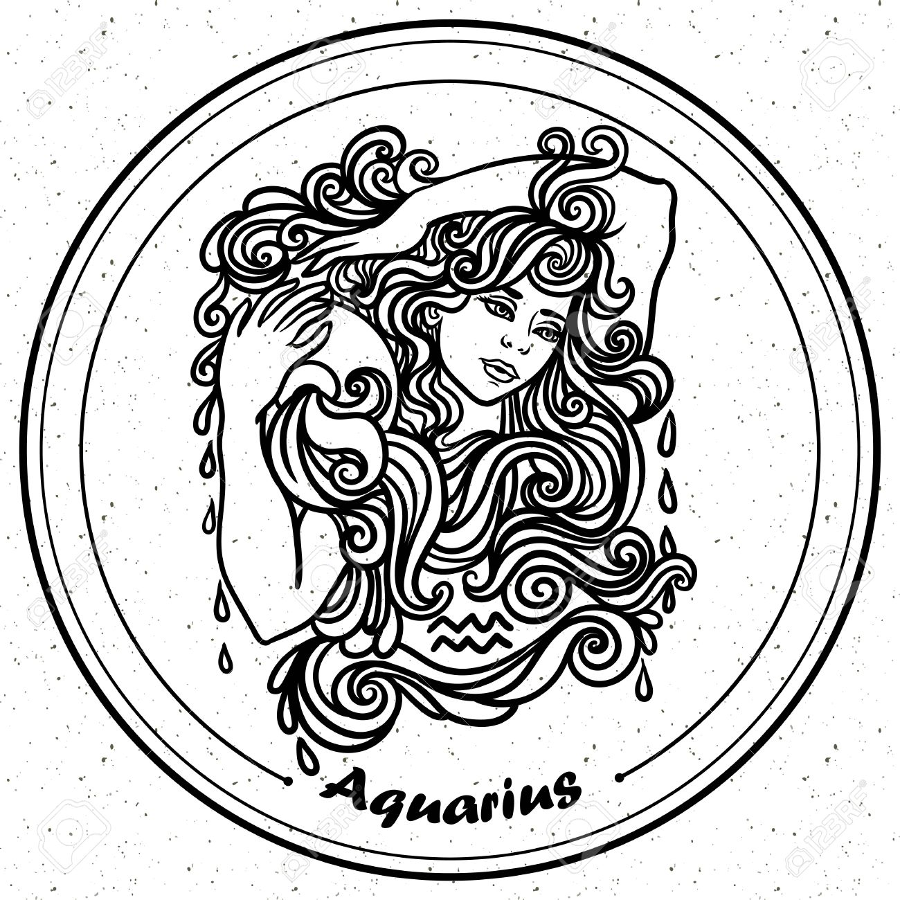 detailed aquarius in aztec filigree line art paisley style tattoo