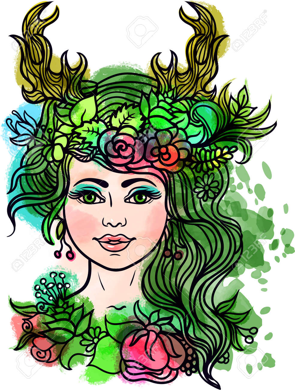 Goddess With Deer Horns.Forest Nymph With Wreath Of Flowers And ...