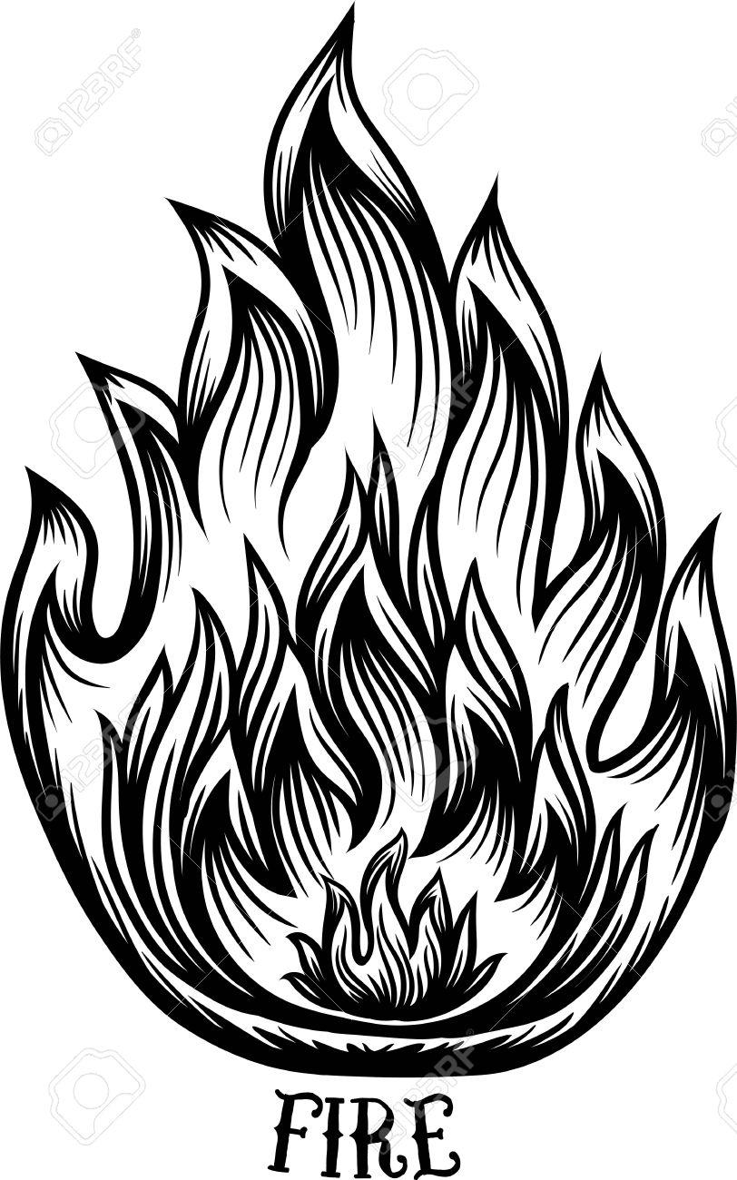 Icono De Fuego. Línea Estilo Del Arte De Filigrana Elegante. Tatuaje ...