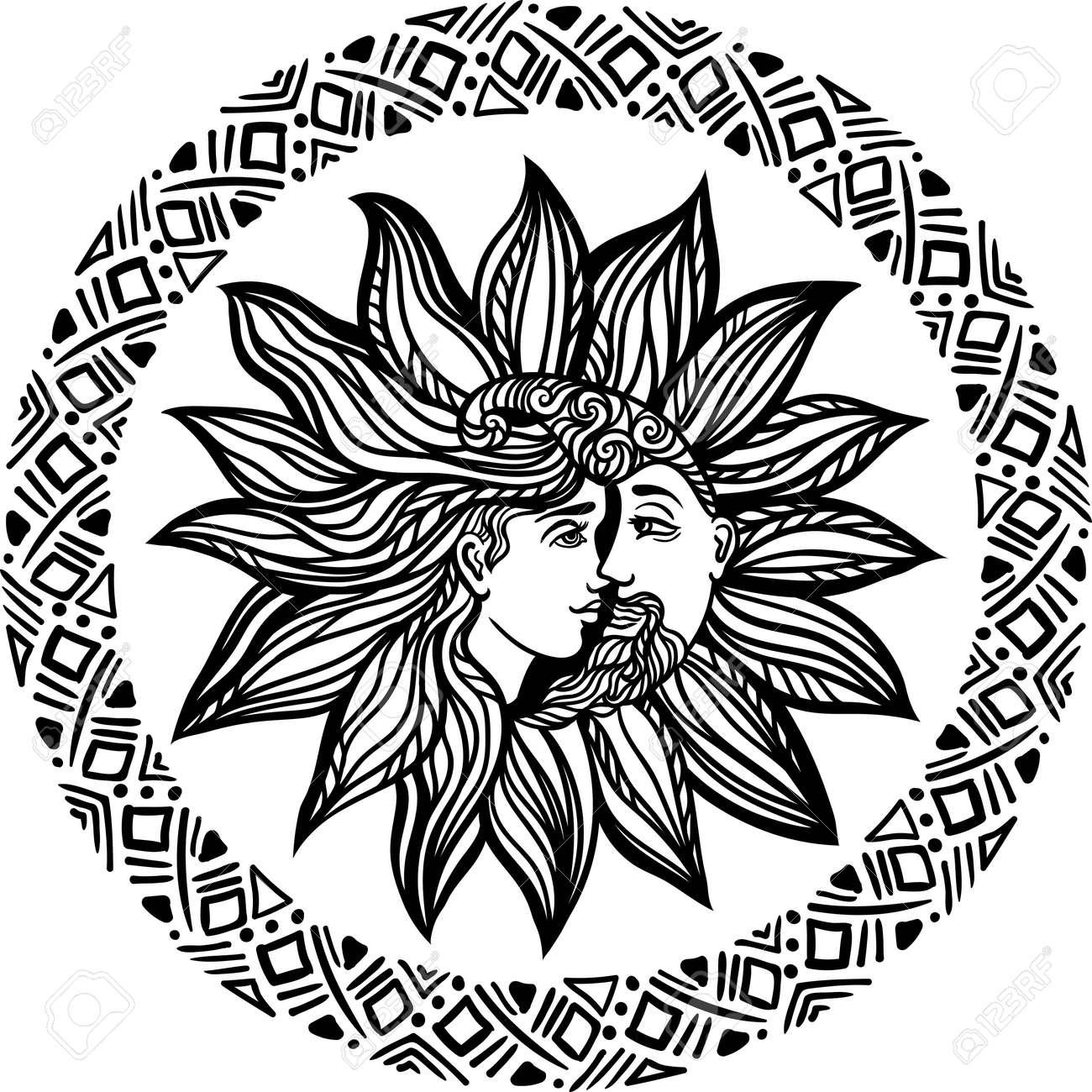 Böhmische Sonne Und Mond. Tattoo Design.illustration. Alchemy ...