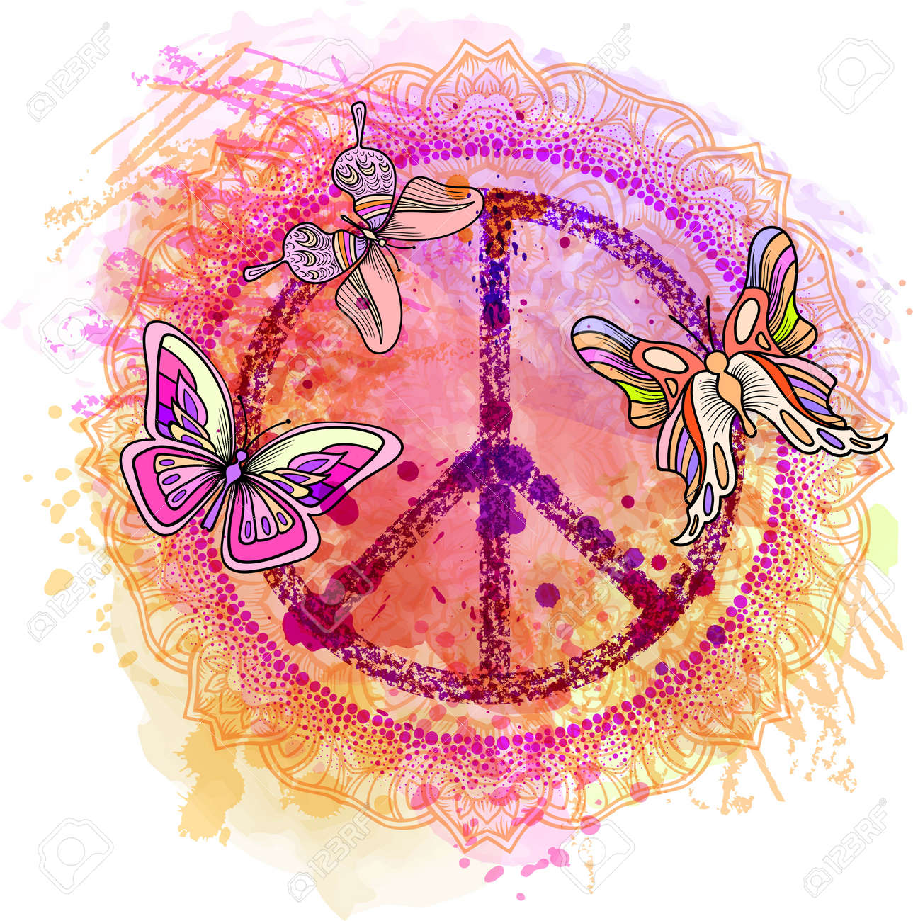 Peace Hippie Symbol over colorful background. illustration for t-shirt print over Abstract watercolor,chalk, pastels texture background. - 64860942
