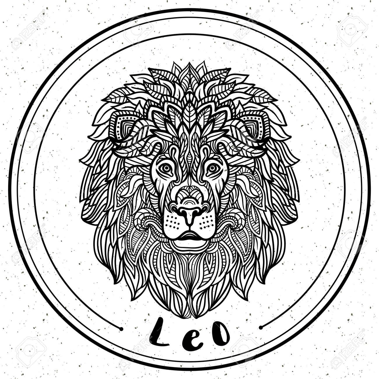 Detaillierte Lion In Aztekischer Filigrane Linie Art-Stil. Tattoo ...