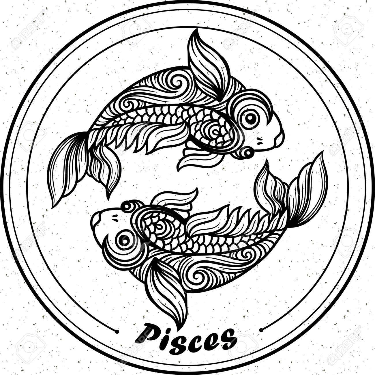 Detaillierte Pisces In Aztekischer Filigrane Linie Art Stil Tattoo