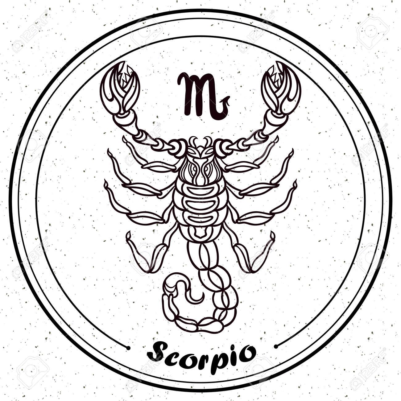 Detailed Scorpio in aztec filigree line art style. Tattoo, coloring..