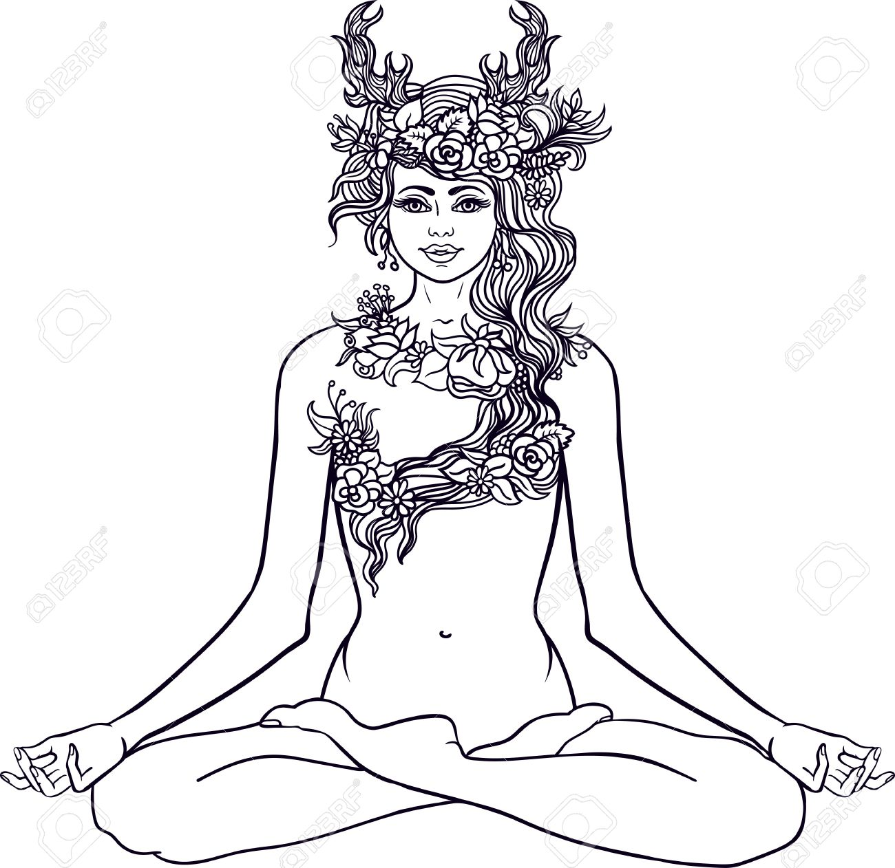 Goddess With Deer Horns Sitting In Yoga Lotus Meditation PoseForest Nymph Wreath Of