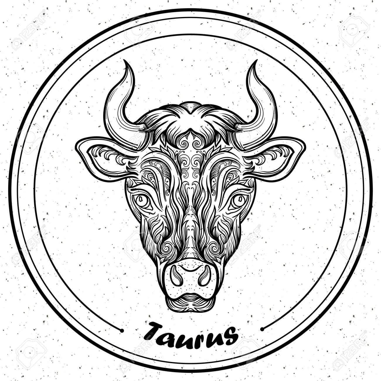 Detaillierte Stier In Aztekischer Filigrane Linie Art Stil Tattoo