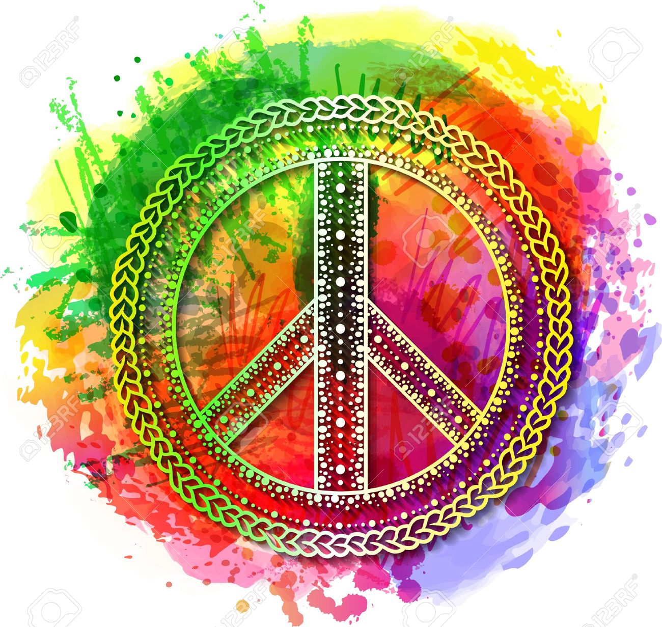 Peace hippie symbol over colorful rainbow background illustration peace hippie symbol over colorful rainbow background illustration for t shirt print over abstract voltagebd Choice Image