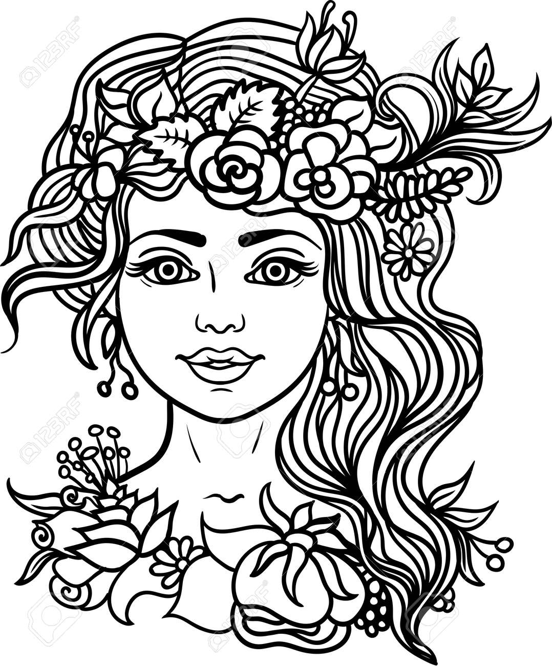Woman Coloring Page Forest Nymph With Wreath Of Flowers And