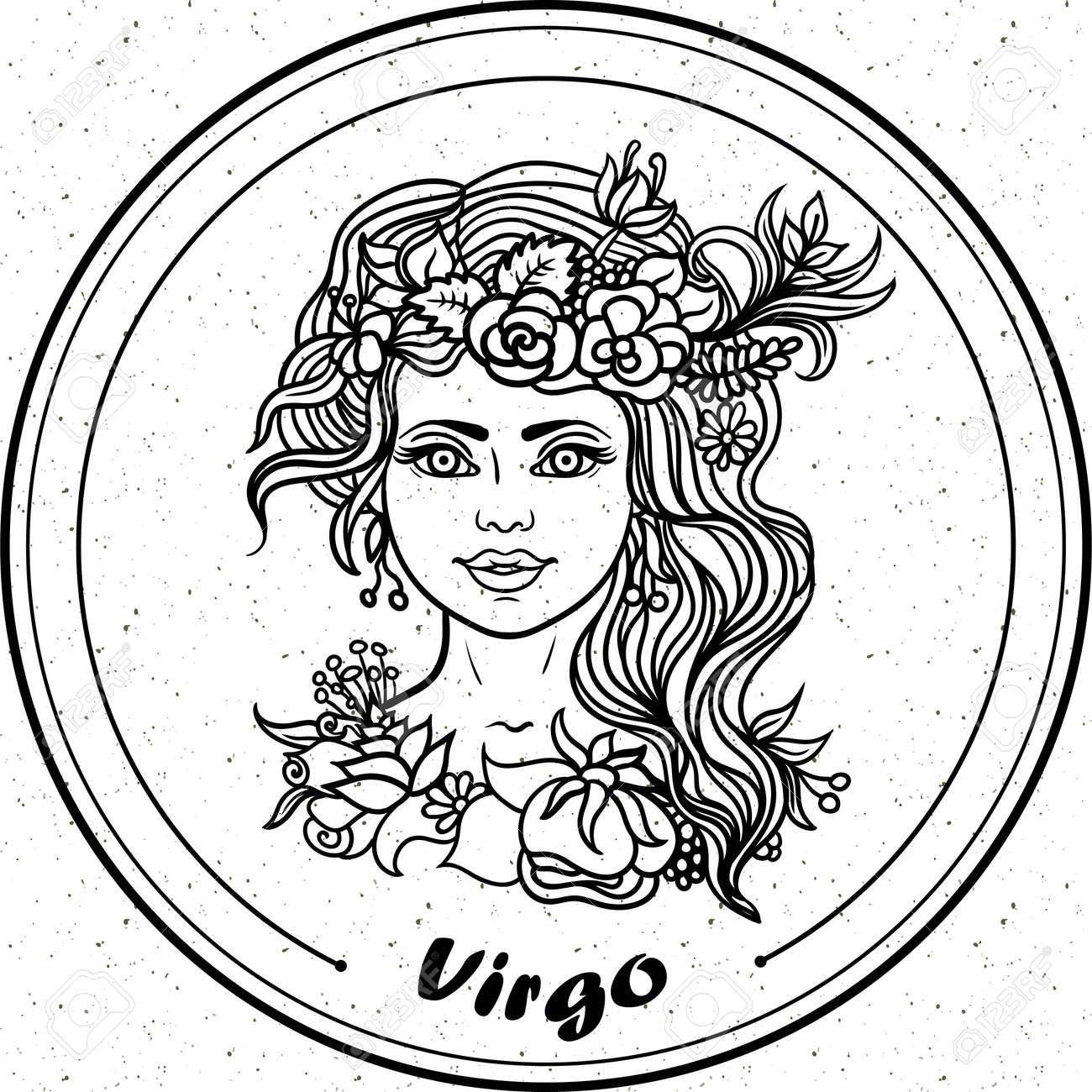 Detaillierte Jungfrau In Aztekischen Kunst Stil Filigrane Linie