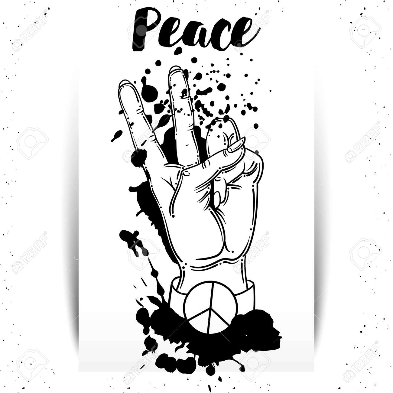 hand human with peace and love gesture - Vector - 135304736