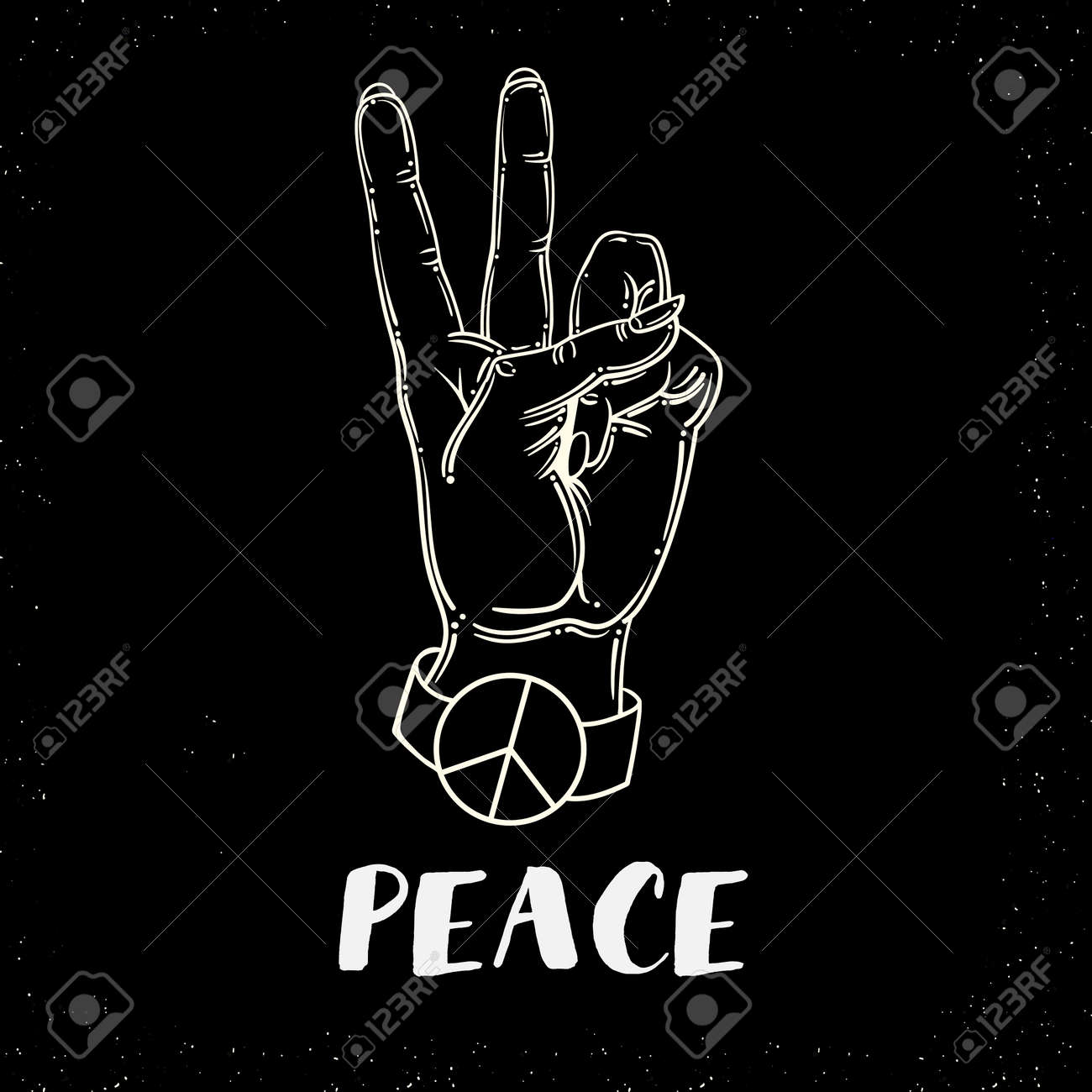 hand human with peace and love gesture - Vector - 135305458