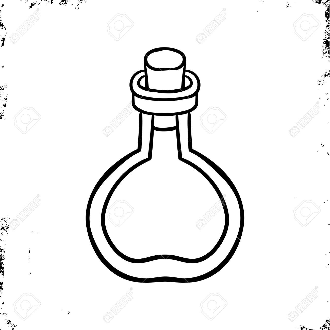 Lab bottle icon. Halloween icon. Laboratory icon. Magic bottle icon.Doodle line art. Witch's Magic Love Potion. Vector isolation - 132075168