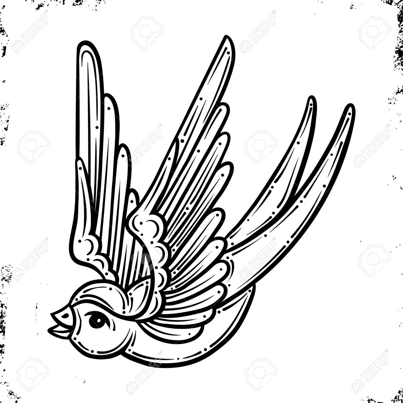 Swallow.Old School Traditional Tattoo. On Vintage background. Vector isolation.Good for printing youth fashion t-shirts and stickers. Salon Tattoo Emblem, Temporary tattoo decal - 132075332